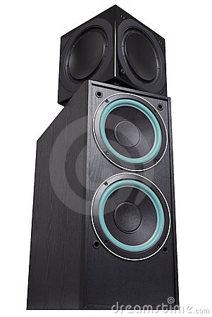 Black sub-woofer and speakers
