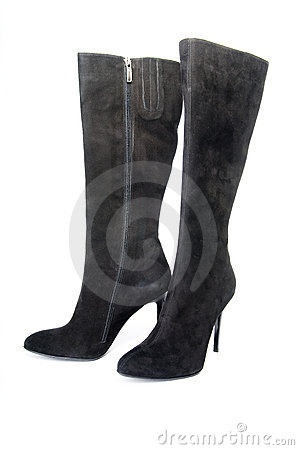 Black suede female boots