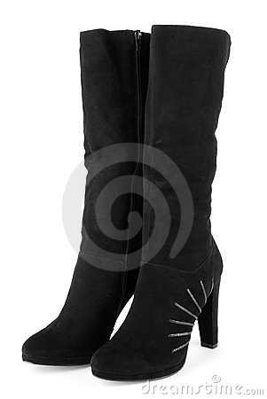 Free Black Suede Ladies Boots Stock Photos - 17472993