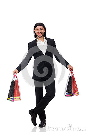Free Black Suit Man Holding Plastic Bags Isolated On White Royalty Free Stock Image - 70952756