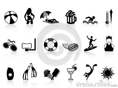 Black summer heat icons set