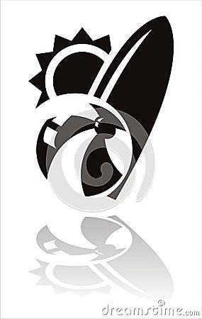 Black summer sports icon