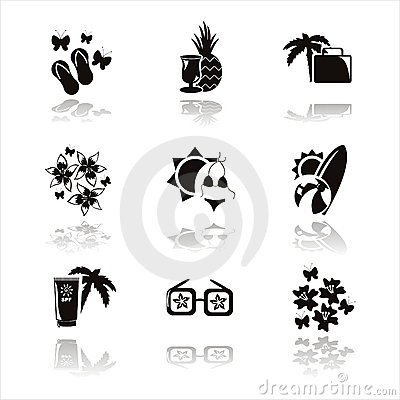 black summer vacation icons