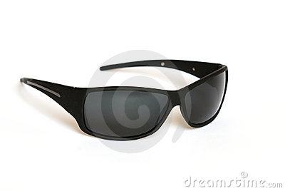 Black sun glasses isolated on white.