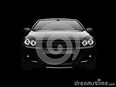 Black SUV in dark front view