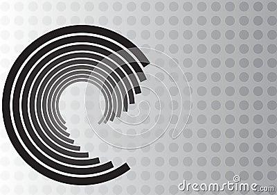 Black Swirl Design on Gray Dot Background