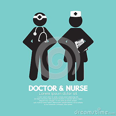 Free Black Symbol Doctor And Nurse Royalty Free Stock Image - 54821826