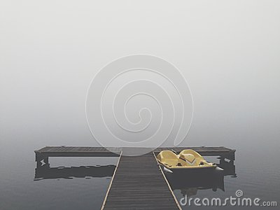 Black T Shaped Dock With A Boat At The Side During A Foggy Weather Free Public Domain Cc0 Image