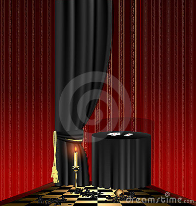 Free Black Table In The Red Room Royalty Free Stock Images - 23093459
