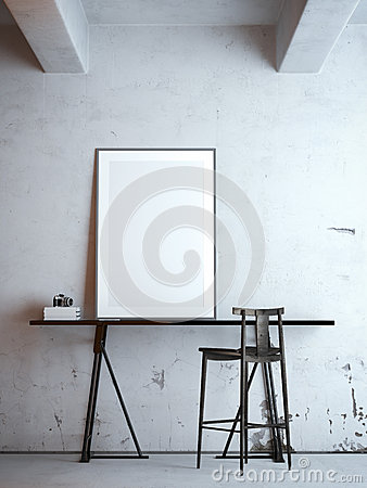 Free Black Table With Blank Frame. 3d Rendering Royalty Free Stock Photos - 54725348