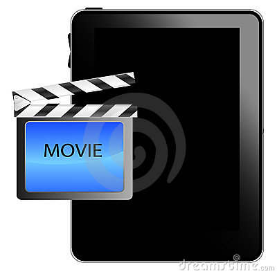 Black tablet pc with movie icon