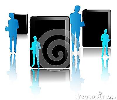 Black tablets with blue businessmen