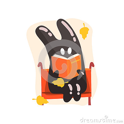 Free Black Tar Jelly Rabbit Shape Monster Reading A Book On The Bench Under Falling Yellow Leaves Outdoors In Autumn Season Stock Photos - 81080033