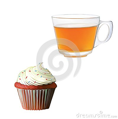 Black tea in a glass cup. Muffin with cream.
