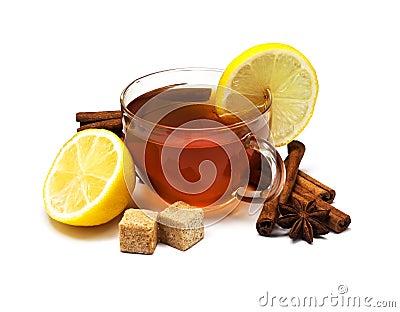 Black tea with lemon and cinnamon