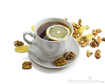 Black tea and lemon in cup