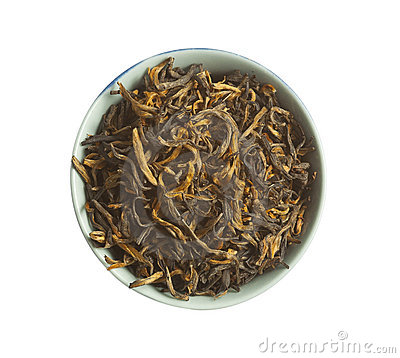Black tea loose dried tea leaves, isolated