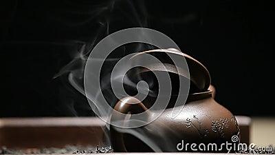 Black tea teapot smoke nobody  Drink, concept