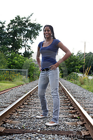 Black Teen Standing On A Railroad Bed Royalty Free Stock Images ...