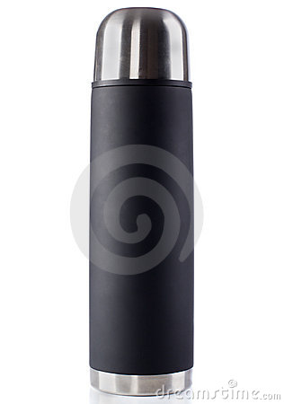 Black thermos with chrome cap