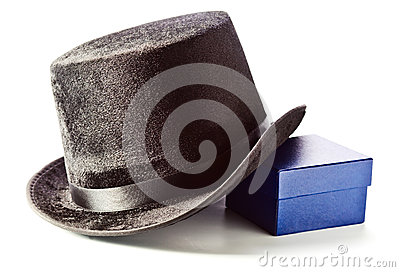 Black top hat and gift box