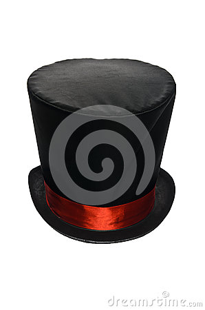 Black Top Hat with Red Ribbon