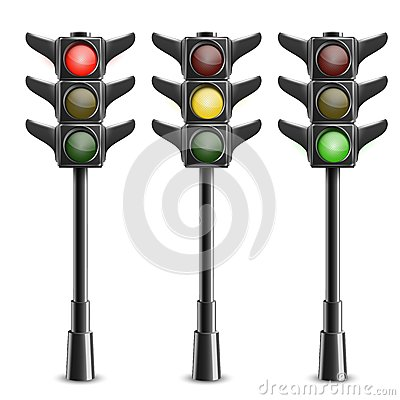 Black Traffic Lights On Pole