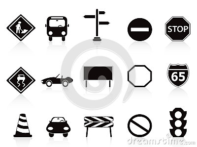 Black traffic sign icons set