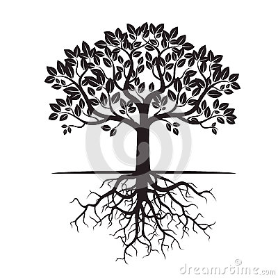 Black Tree and Roots. Vector Illustration. Stock Photo