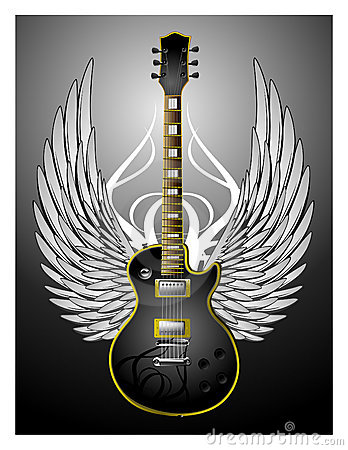 Black Tribal Guitar w/Wings