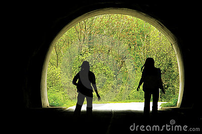 Black tunnel and people