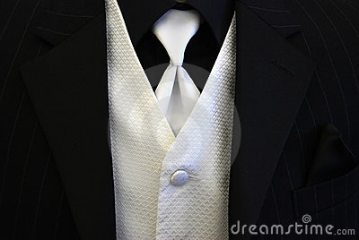 Black Tuxedo White Tie and Vest