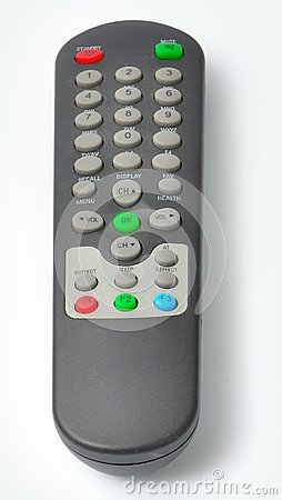 Black TV Remote control from the front