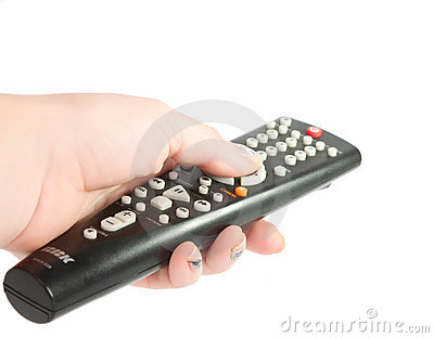 Black TV remote control in hand