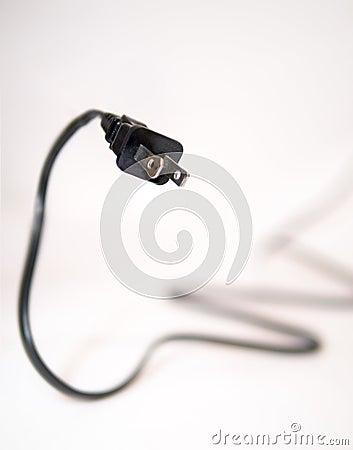 Black two prong power plug chord