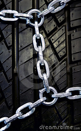 Free Black Tyre With Chain Royalty Free Stock Image - 6790976