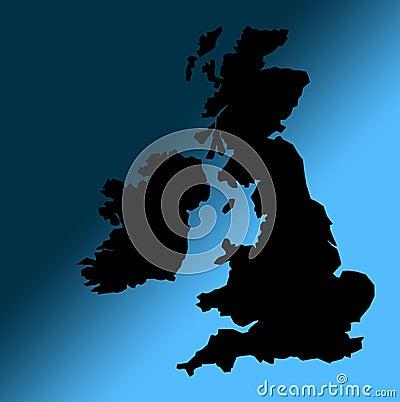 Black UK map outline