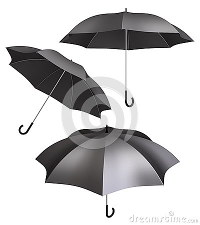 Black umbrella isolated different views