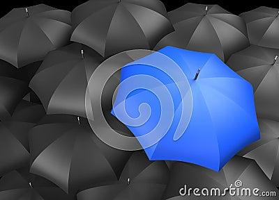 Black Umbrellas with Single Blue Umbrella