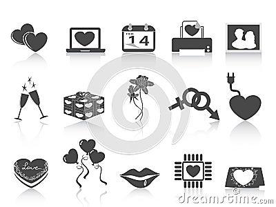 Black Valentines day icons