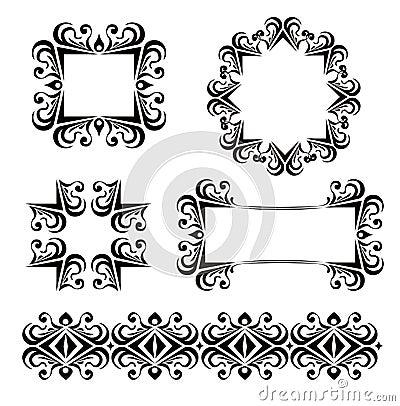 Black vector frames decoration