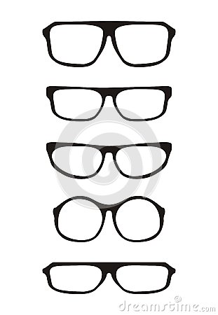 Black vector glasses set with thick holder retro h