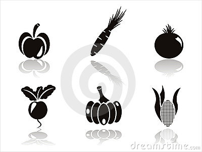 Black vegetables icons