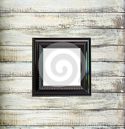 Free Black Vintage Picture Frame On Old Wood Background Stock Photography - 25895342