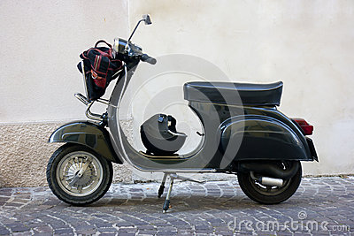 Black vintage scooter