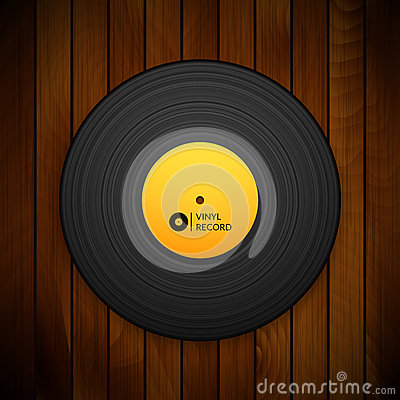 Free Black Vintage Vinyl Record  On Red Wood Stock Photography - 60686312