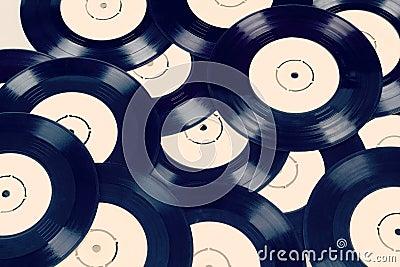 Black vinyl records vintage toned
