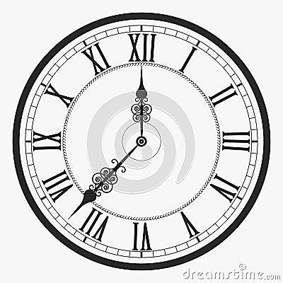 Black Wall Clock Stock Vector Image 72963092