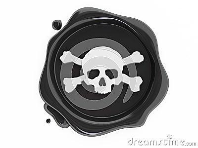Black wax pirates skulls symbol white