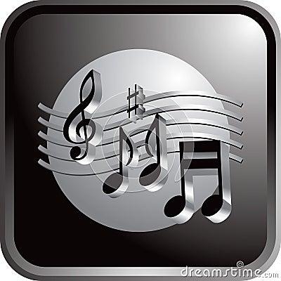 Free Black Web Button Music Notes Royalty Free Stock Photos - 12417568
